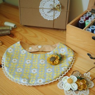 Handmade Baby Bib and corsage/ hair clip and necklace set