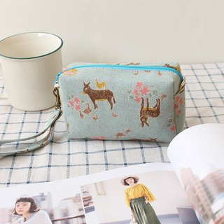 双层 and flower retro double-layer cosmetic bag / coin purse storage bag