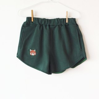 Red Panda Embroidery - Shorts / Dark Green