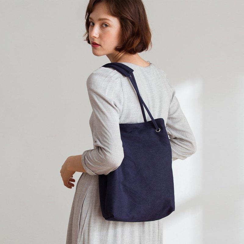 Ava 帆布 2way 側背包 +媽媽包內袋【海軍藍】