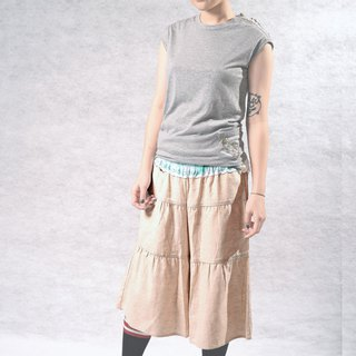 Painted lotus leaf waist cake skirt (m/dark blue 2 colors)