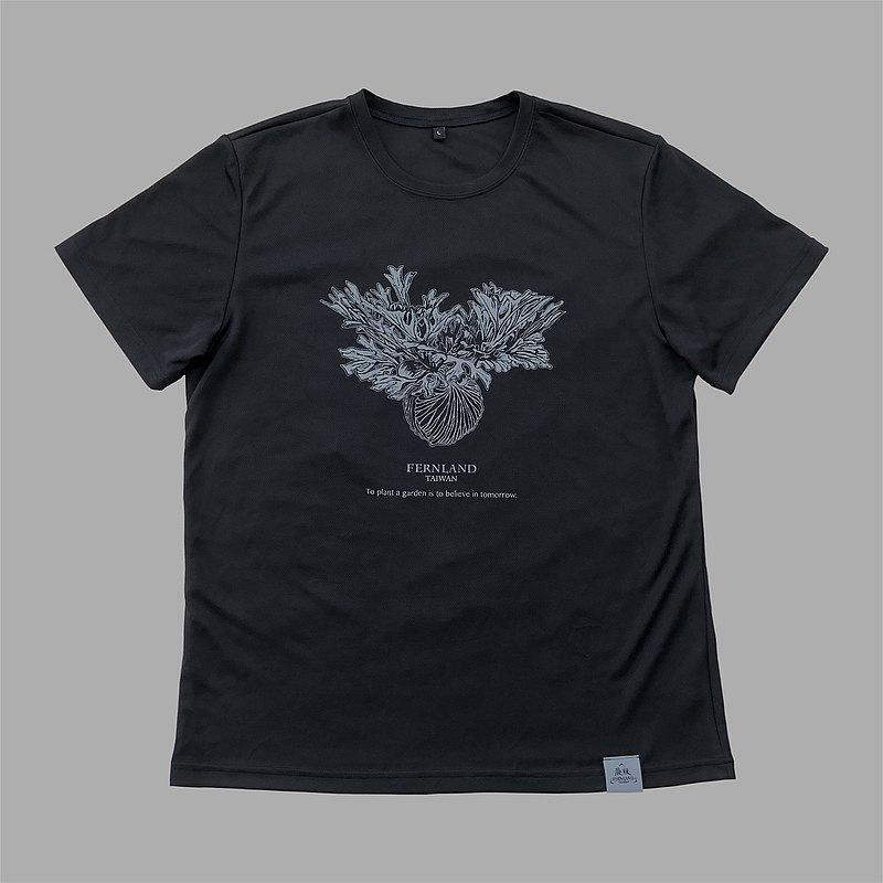 蕨版-鹿角蕨-亞猴-設計師聯名款-機能型吸濕排汗衣-黑色