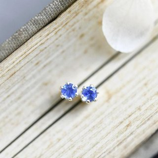 Stone go through the stone blue sapphire stud earrings 3 mm baby size September birthstone