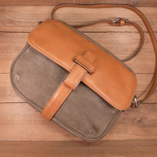 Old bone LANCEL suede stitching leather side backpack Vintage