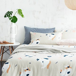 寐寐喵 pillowcase + quilt cover two sets of single double original hand-painted cat 40 cotton bed package optional