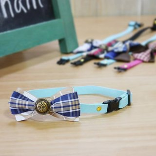 Plaid Cats Meow Star Exclusive necklace (blue collar section) / pet collar / bow collar / Loop ChainChain
