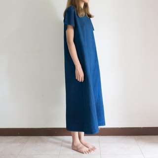 natural indigo very plain dress