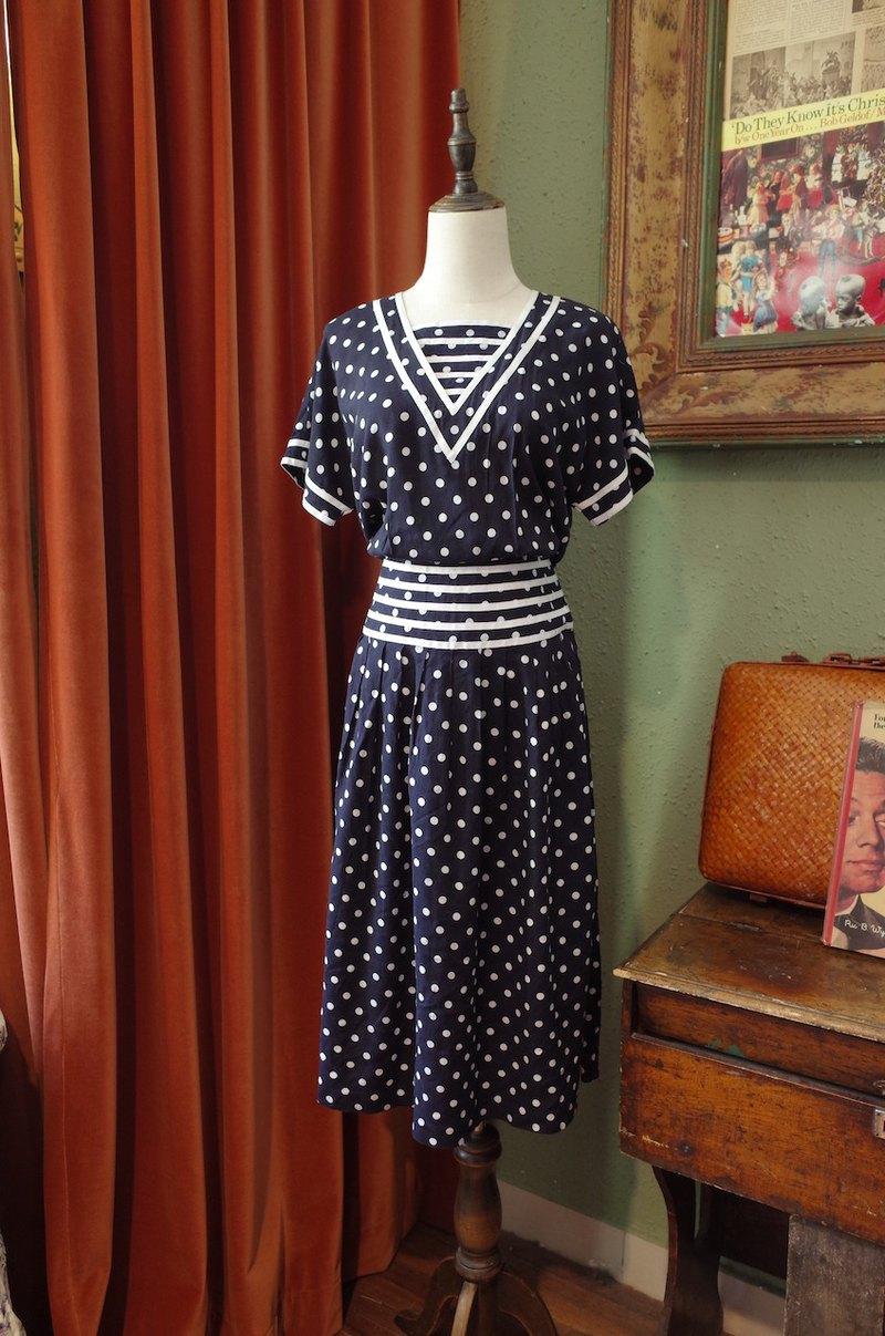 vintage dress復古海軍風波點連衣裙古著洋裝