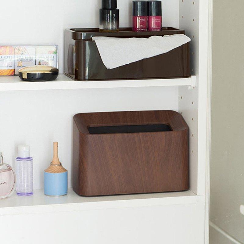 日本ideaco 胡桃木紋纖形斜口桌邊置物/垃圾桶-1.7L