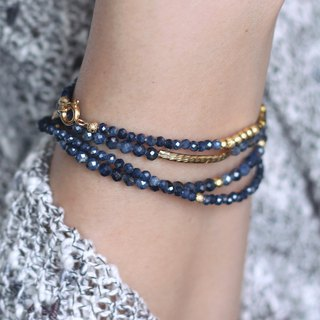 (Main long chain three circle area) Weaving night _ natural stone bracelet cut angle sapphire Sapphire