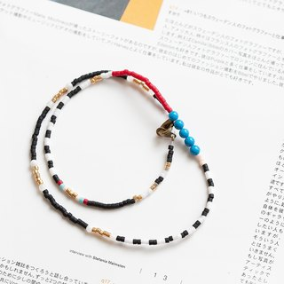 "Double layer mixed with semi-precious stones color hippie gypsy bead string brass buckle bracelet ""small chain club"" BMK039"