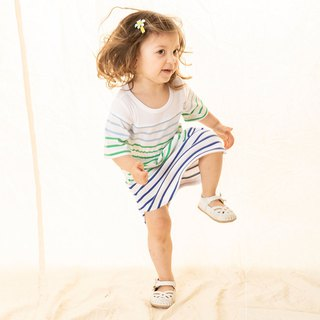 Texture stripe waist casual girl dress