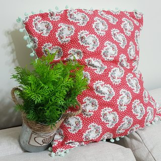 Nordic classic pastoral style retro red flower pattern, shallow lake green hairball pillow / pillow