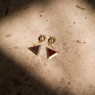 Trilogy-Loop & Triangle Stone Earrings-Rouge-Silver Stud-Clip on-Brass