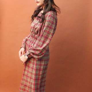 Vintage Autumn and Winter Japanese Black Red Brown Plaid Plaid Long Sleeve Vintage Dress Vintage Dress