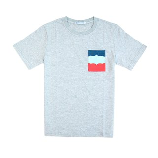 Dosquare - Cotton Gray T-shirt with color-block design Pocket