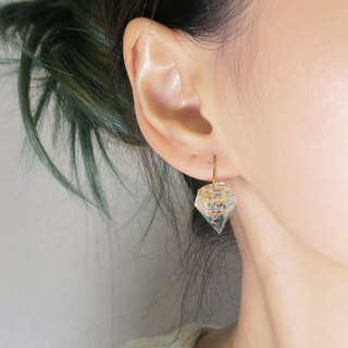 OUD Original-Diamond Gemstone Shaped Aquamarine Shells Gold Foil Drop Earring