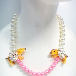 Wild boar single-string pearl necklace cameo glass pink crystal protein