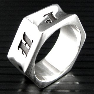 Customized .925 sterling silver jewelry RP00008- polygonal ring (hexagonal rings)