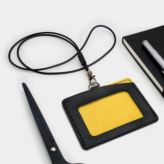 RENEW - Horizontal ID card holder, card holder black + yellow vegetable tanned leather hand-sewn