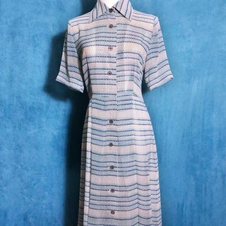 Blue Totem Short Sleeve Long Vintage Dress / Bring Back VINTAGE Abroad
