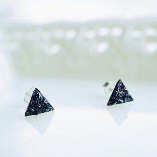 Crushed Hematite Triangle  925 Silver Earrings
