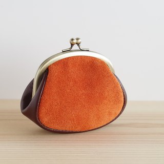 Suede leather gypsum mini pouch orange