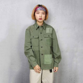 Tsubasa.Y ancient house A02 re-splicing long-sleeved military lining, stitching military green shirt