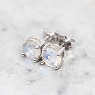 Rainbow Moonstone Stud Earrings, Sterling Silver Rhodium Plated, 6mm Round