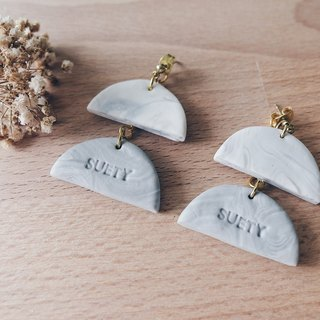 Personalized/Customized Name Grey White Marble Clay Dangle Earrings | Valentines