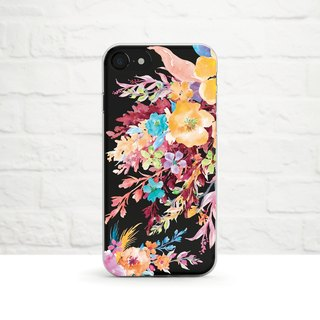 Flower Bouquet in Vibrant Colors, Clear Soft Phone Case, iPhones, Samsung