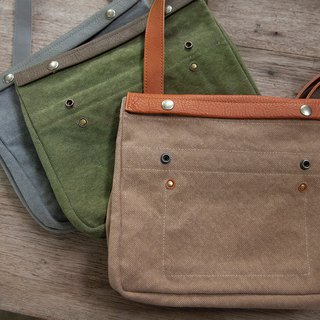 Small canvas and leather messenger bag,  Canvas leather satchel