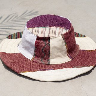 Christmas gift ethnic mosaic of hand-woven cotton hat / knitted hat / hat / visor - Japanese national wind hand-woven cotton (limit one)