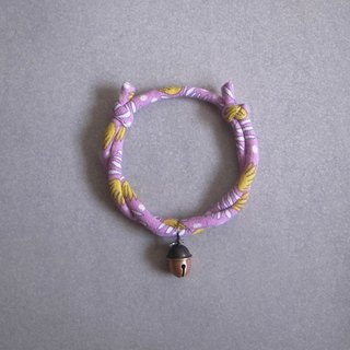 Japanese dog collar & cat collar【Nordic Cloth Adjustable】Lilac & Acorn Bell_S size