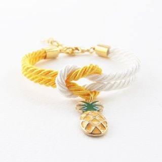 Yellow & white knot bracelet + pineapple charm