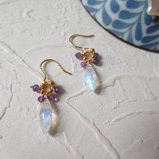 Package 14K gold twist small moonstone amethyst earrings can change the folder pre-set models