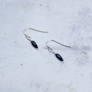 Minimalist Collection - Elegant Black - 925 sterling silver hand-made earrings Free clip-on silver gift wrap