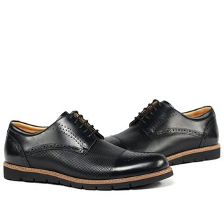 Temple filial piety decorated carved punching Derby shoes black