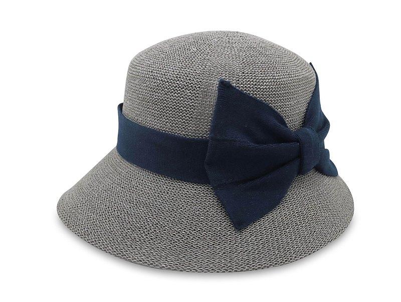 英倫蝴蝶結淑女帽-灰色 針織帽 紙線編織 可水洗 台灣製