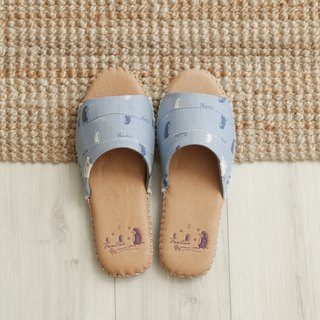 Leather cloth flower indoor slippers (walking in the first line) sky blue