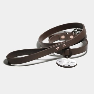 LUCE vegetable tanned leather leash + collar + German famous brand concessions - tricolor