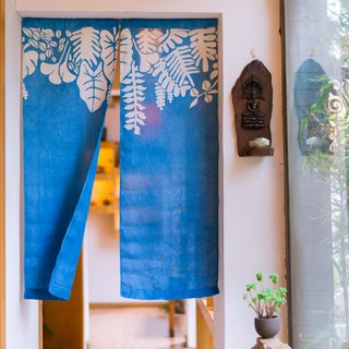 April curtain handmade grass dyed blue dyed indigo dyed original design linen Chinese Japanese partition curtain