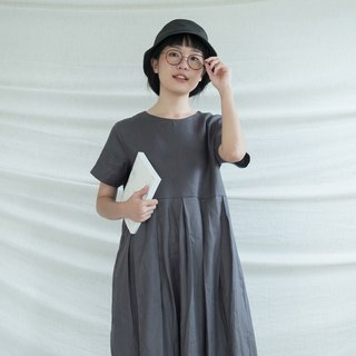 Dark Grey Pleated Linen Dress