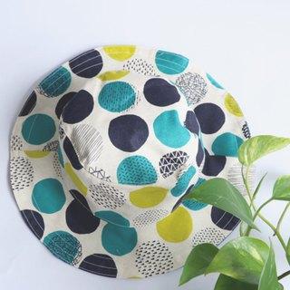 MaryWil double-faced handsome hat hat - blue and green geometry little