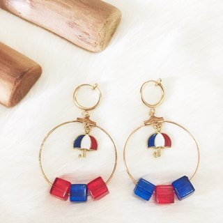 Red and blue umbrellas without earrings circle ear clip painless earrings handmade