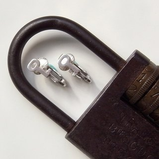 Tiny key Clip-on Earrings--Sterling Silver--Silver key Earrings