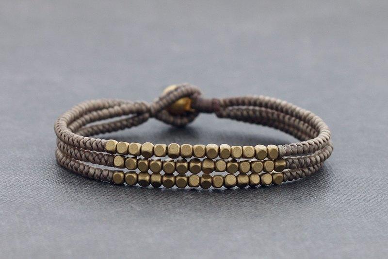 編織手鍊立方體陶粒串珠多股方形袖口黃銅Boho