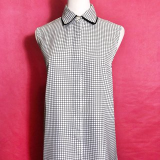Double-layer collar plaid sleeveless vintage shirt / brought back to VINTAGE abroad