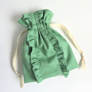 Straight line double ruffle drawstring pouch green