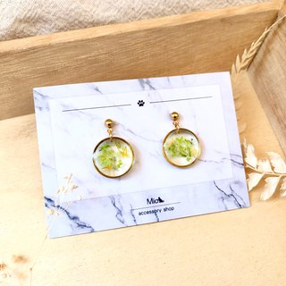 [Flower Full Moon] Qingbi Color Dry Flower Series Earrings (can be changed ear clip)